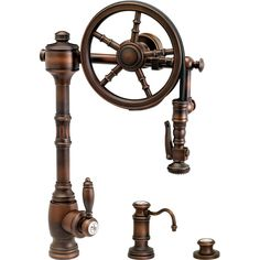 Waterstone WST-5100-3-AB Wheel Antique Brass Pro Pre-Rinse Units Kitchen Faucets | eFaucets.com