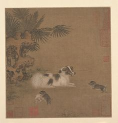 明 佚名 犬戲圖 冊頁 Puppies Playing beside a Palm Tree and Garden Rock,15th century. China, Ming dynasty.The Metropolitan Museum of Art, New York. Edward Elliott Family Collection, Purchase, The Dillon Fund Gift, 1989 ( 1981.285.14).
