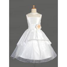 [US$ 98.69] A-Line/Princess Scoop Neck Tea-Length Taffeta Organza Flower Girl Dress With Flower(s) Cascading Ruffles (010014644)