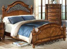 wood and iron headboard | San Sebastian Full-Queen Panel Bed #10-1412Q-BED-HD
