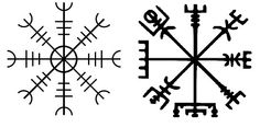 Aegishjalmur and Vegvisir Ægishjálmur Helm of awe; to induce fear and to protect against abuse of power. Vegvísir To guide people through rough weather.