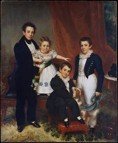 Samuel Lovett Waldo (1783–1861). The Knapp Children, ca. 1833–34. The Metropolitan Museum of Art, New York. Gift of Mrs. John Knapp Hollins, in memory of her husband, 1959 (59.114) #dogs