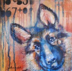 10x10 gallery wrapped mixed media oil- German Shepard puppy sold