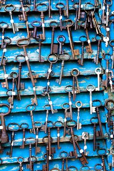 Paris Photography - Antique Keys at Flea Market in Paris, France - 8x10 Photograph- Paris home decor - cobalt blue