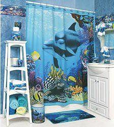 Dolphin Bathroom Accessories Set W Shower Curtain