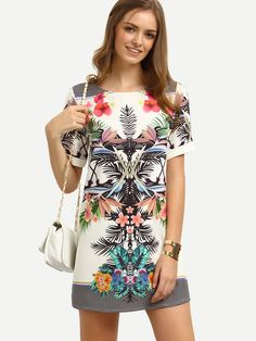 Shop Multicolor Print Short Sleeve Shift Dress online. SheIn offers Multicolor Print Short Sleeve Shift Dress & more to fit your fashionable needs.