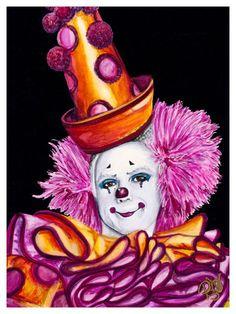 Watercolor Clown #26 Victor Ruiz 9 X 12 on Canson 140 lb Cold Press paper Original SOLD Prints Available
