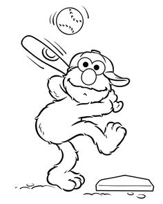 Elmo Playing Baseball Coloring Page - Elmo Coloring Pages ...