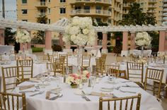 Gold, white and pink destination wedding tablescapes