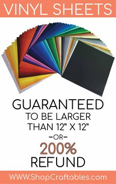 Affordable vinyl sheets with guaranteed sizing, only at Craftables.