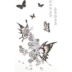 Spestyle latest hot and fashionble temporary tattoos product dimension 6.69x3.74 black butterflies with Plum flower temporary tattoos for women by SPESTYLE *** Find out more about the great product at the image link. (This is an affiliate link and I receive a commission for the sales) #Makeup