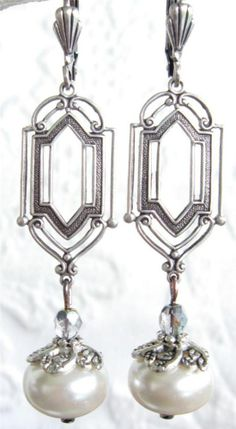 Vintage Art Deco Silverplated Dangle Rondelle Cream Pearl Earrings Hostess Gift