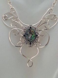 Madame Butterfly Abalone Filigree Wire Pendant