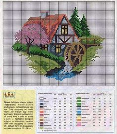Quaint water mill cross stitch pattern with key