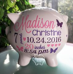 Personalized piggy bank baby boy piggy bank baby birth stats personalized piggy bank baby boy piggy bank baby birth stats gift baby boy babys first christmas pinterest personalized piggy bank baby birth negle Images