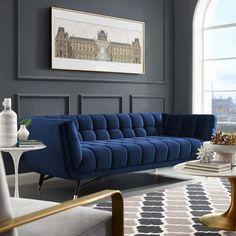 Blue Velvet Sofa Living Room, Living Room Sofa Design, Home Living Room, Living Room Designs, Living Room Decor Blue Sofa, Blue Living Rooms, Dark Blue Couch, Blue And Gold Living Room, Navy Blue Sofa