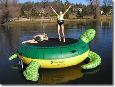 Island Hopper Turtle Hop Inflatable Water Trampoline is an inflatable water trampoline that will give you hours of water trampoline fun. This Island Hopper water trampoline is a joy and delight for every dock. Water Trampoline, Trampoline Sale, Trampoline Reviews, Lake Toys, Cool Pool Floats, Turtle Love, Turtle Ship, Kids Swimming, Cool Pools