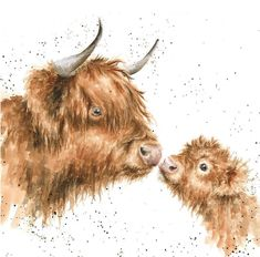 Artistic Greeting Card - Blank/Birthday - 'Gentle One' - Highland Cow and Calf - from The Country Set Range - Suitable for Birthdays and Other Occasions Highland Cow Painting, Highland Cow Art, Animal Paintings, Animal Drawings, Watercolor Animals, Watercolor Paintings, Watercolour, Highland Cow Tattoo, Cow Drawing