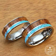 Pair of Tungsten Carbide Ring with Hawaiian Koa Wood and Turquoise Inlay (6&8mm width, flat shaped)