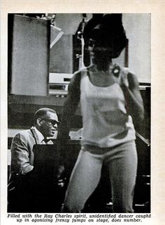Ray Charles performing at The Big T.N.T. Show,  recorded at the Moulin Rouge club in Los Angeles on November 29 and 30, 1965. From: Jet, Dec. 16, 1965.