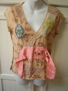 FREE PEOPLE M Tan Vintage Style Lace Appliques Butterfly Dance Girl Rooster Top!  Boho lovers check out this cutie! Only $38.99 and you can have this baby in your closet!