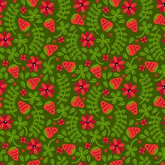 Strawberry Toss fabric by robyriker on Spoonflower - custom fabric