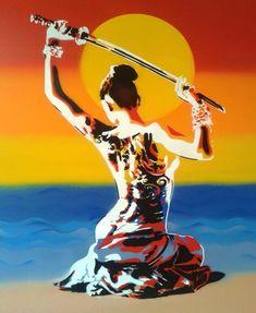 Samurai 2 by Abstract Graffiti Japanese Geisha, Japanese Art, Japanese Kimono, Canvas Art Prints, Fine Art Prints, Framed Prints, Tribal Sun, Thing 1, Samurai Art