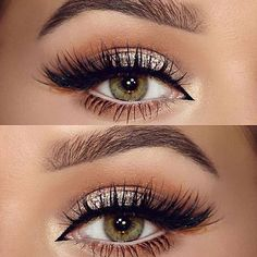 make up guide neutral, champagne glitter, softly shaded crease in warm brown, cream on the lower waterline, black winged liner extended into inner corner Pretty Makeup, Love Makeup, Makeup Inspo, Makeup Inspiration, Buy Makeup, Makeup 2018, Green Makeup, Style Inspiration, Bridal Makeup For Green Eyes