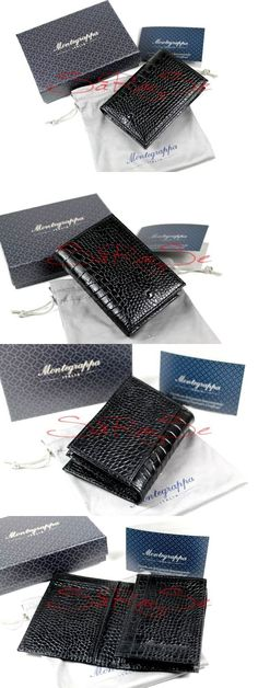 Checkbook holders 105408 vintage black genuine leather check book checkbook holders 105408 montegrappa business cards credit cards case card holder croco leather onyx reheart Images