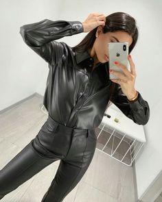 Bustiers, Best Swimwear, Black Leather Dresses, Tailored Shirts, All Black Outfit, Leather Fashion, Leather Pants, Style, Suits