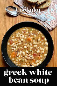Greek White Bean Soup With Garlic & Lemon - Real Greek Recipes Bean Soup Recipes, Healthy Soup Recipes, Vegetarian Recipes, Cooking Recipes, Vegetable Recipes, Healthy Meals, Diet Recipes, Recipies, White Bean Soup