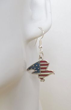 Patriotic Eagle Charm Earrings by ShadowoftheCross on Etsy