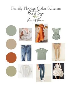 Family Photo Outfits Color Schemes – Rust & Sage Fall Family Picture Outfits, Family Picture Colors, Summer Family Pictures, Family Photos What To Wear, Fall Family Photos, Family Outfits, Family Picture Clothes, Family Pics, Family Photography Outfits