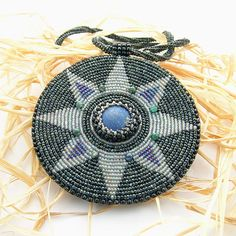 OOAK Evening Star Ethnic Pendant bead embroidery by Taurielscraft, $109.00