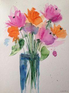 ORIGINAL AQUARELL Aquarellmalerei Blumenstrauß Bild Kunst