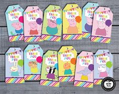 12x PEPPA PIG & FRIENDS Thank You Tags Favor por RedAppleStudio