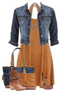 """denim jacket & dress"" by be-ori ❤ liked on Polyvore featuring Bølo, H&M, ZENZii, Wet Seal, maurices and Rimmel"