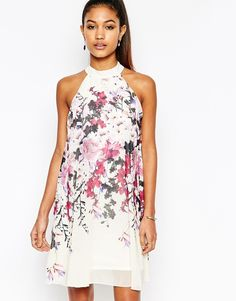 Lipsy+High+Neck+Babydoll+Dress+In+All+Over+Floral+Print