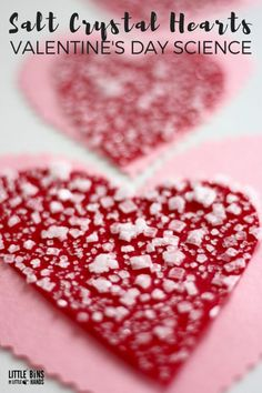Growing salt crystal hearts for Valentine's Day science and chemistry with saturated solutions!