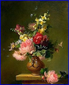 Francois Rivoire Bouquet Of Roses 1861 Flower Painting Flower Victorian Flower Basket By Artist Jeanne Illenye On Dailypainters Floriography The Language Of Flowers In The Victorian Era Carta Victorian Paintings…Read more of Victorian Flower Paintings Victorian Flowers, Victorian Art, Vintage Flowers, Flower Vases, Flower Art, Flower Arrangements, Painting Still Life, Still Life Art, Art Floral