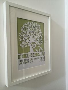 amily tree papercut with spaniel dog, kennel and child's birth announcement details - Wallace Imagery