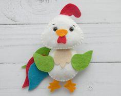 Ornamenti ornamento di feltro Gallo Gallo cucina decorazioni feltro Primavera Pasqua feltro decorazione fattoria uccello Pasqua ornamento animali da fattoria