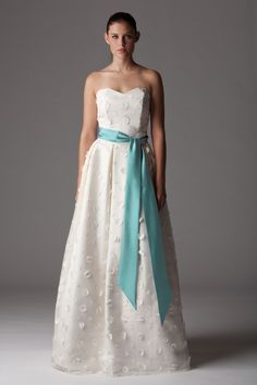 Style: 276FB  Strapless wedding dress with sweetheart neckline. Shown here in our daisy silk organza.  Aria