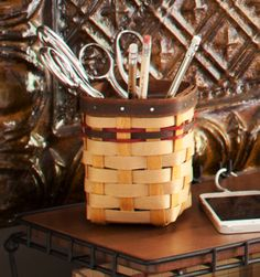 Keep your desk clean and richly appointed with the vintage Signature Plaid Coordinate Pencil Basket.