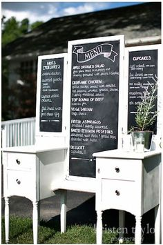 Vanity chalkboard menu :  wedding chalkboard diy menu reception vintage 28