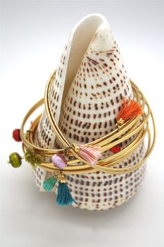 Filled gold brass bangles, with tassels and bohemia crystal, availables on : www.lisamia.fr