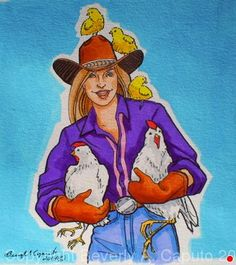 """Chickens, Chickens, Chickens! by Beverly Caputo Watercolor ~ 8"""" x 7 1/2"""""""