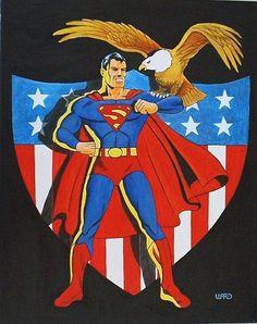superman comic art | Art: SUPERMAN PATRIOTIC by Artist George Bryan Ward