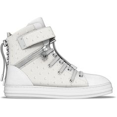 Myswear 'Regent' hi-top sneakers ($1,740) ❤ liked on Polyvore featuring shoes, sneakers, white, white shoes, hi tops, high top shoes, lace up high top sneakers and white trainers
