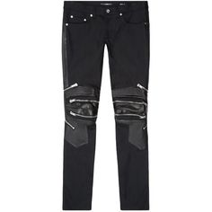 Saint Laurent Skinny Biker Jeans ($1,090) ❤ liked on Polyvore featuring men's fashion, men's clothing and men's jeans